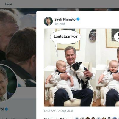 President Niinistö med son och hund i famnen