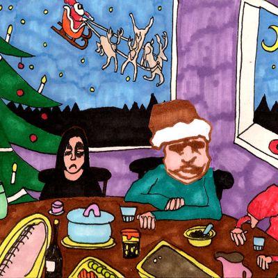 illustration av deppiga typer vid julbordet
