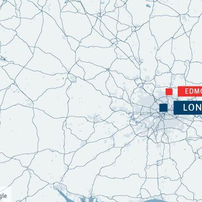 Karta över London och Edmonton