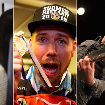 Kolmen kuvan yhdistelmä: vasemmalla meikkaaja, keskellä jääkiekkoilija, oikealla kitaristi