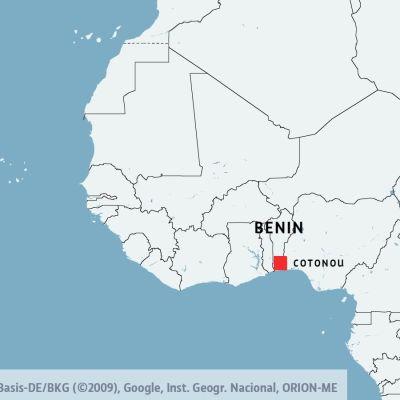 Karta över Benin och Cotonou