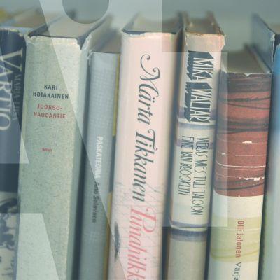 """kirjoja hyllyssä ja päällä teksti """"AI"""""""