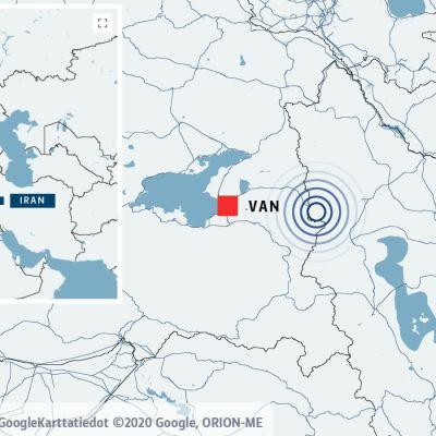 En karta som visar staden Van i Turkiet och Tabriz i Iran utmärkta. Båda städerna är nära gränsen mellan Iran och Turkiet där jordbävningen som skett är utmärkt.