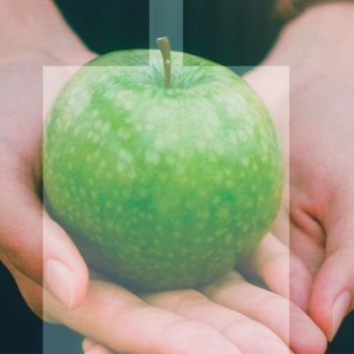 kädet pitävät omenaa