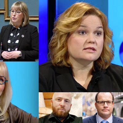 Kirsi Varhila, Anna-Kaisa Pekonen, Päivi Sillanaukee, Krista Kiuru,  Onni Sarmaste, Tomi Lounema, Mika Lintilä ja Tiina Jylhä