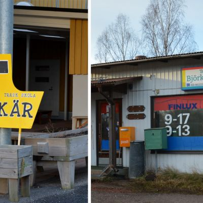 Bildcollage: till vänster en snickrad gul färja, till höger en äldre bild av Björkö handel.