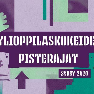 """Vihreän ja violetin sävyisellä värikkäällä taustalla teksti """"Ylioppilaskokeiden pisterajat, syksy 2020""""."""
