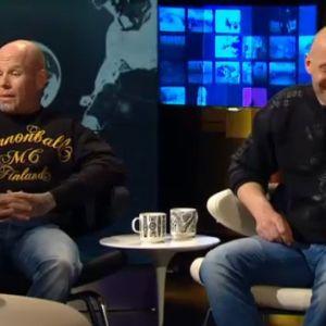 Cannonball MC:n jäsen Janne Tranberg ja Bandidos MC:n jäsen Tapio Haapanen A Studion: Streamissa 2013..