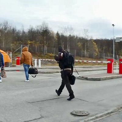 Asylsökande vid gränsövergången i Storskog.