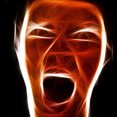 Röntgenbild av människa som skriker.