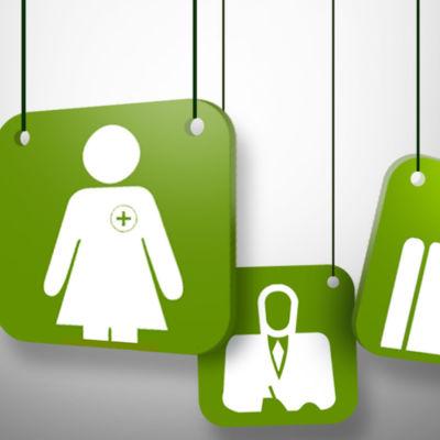 Gröna grafiska klossar med olika bilder av yrken.