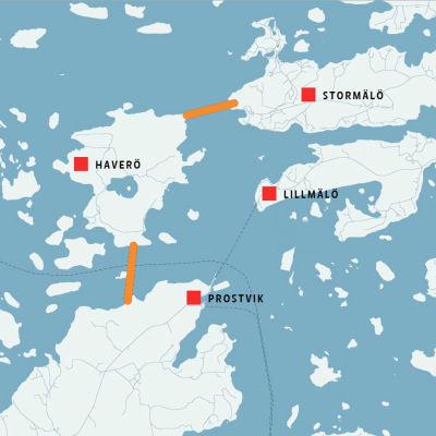 Broförbindelse till Nagu föreslås gå via Haverö.