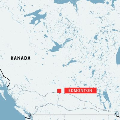 Karta över Kanada med staden Edmonton markerad.
