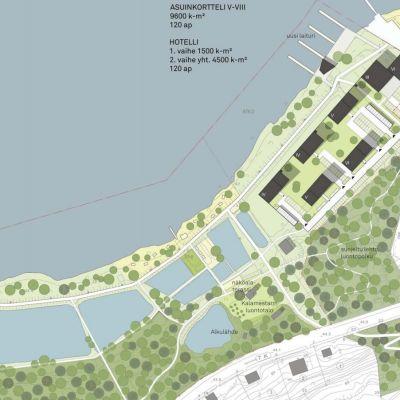 Ett av de tre alternativen för hur Porla i Lojo kunde se ut med hotell och bostäder. Det här alternativet kallas för Vetoketju.
