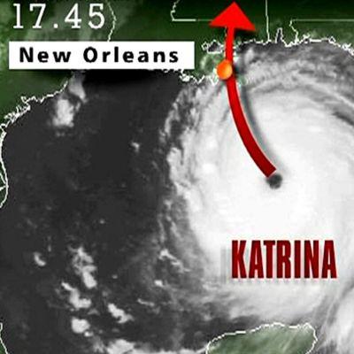Uutisgrafiikkaa hirmumyrsky Katrinasta.