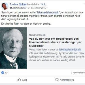 """Anders Sultan skriver att läkemedelsindustrin inte tjänar pengar genom att göra människor friska, utan genom att hålla dem """"lagom sjuka""""."""