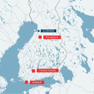 En karta över Finland där Pulkkila, Tavastehus och Hangö är utmärkt med rött.
