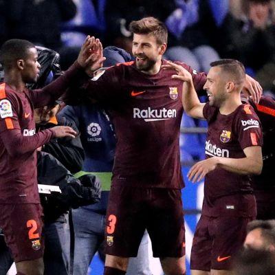 Barcelonaspelare jublar