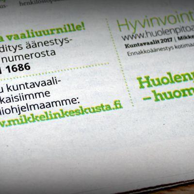 Mikkelin keskustan mainos vaalikyydityksestä sanomalehti Länsi-Savossa 9.4.2017.