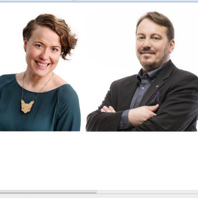 Bjarne Kallis (Saml), Laura Ala-Kokko (Gröna) och Mats Nylund (SFP).