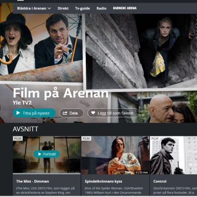 Skärmdump från Yle Arenans filmsida.
