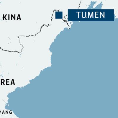 Karta över Nordkorea där floden Tumen och huvudstaden Pyangyang är utmärkt.