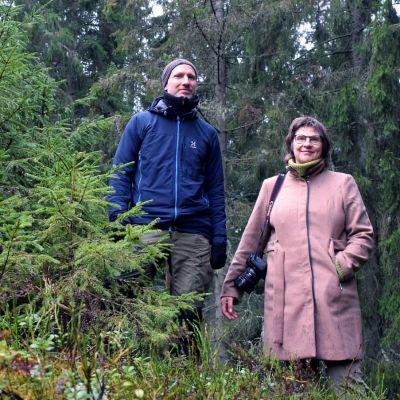 Panu Kunttu och Ritva Kovalainen mitt i en stor granskog.