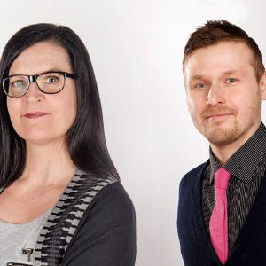 Micaela Röman och Alex Fager gör tillsammans den Finlandsvenska mediepodden