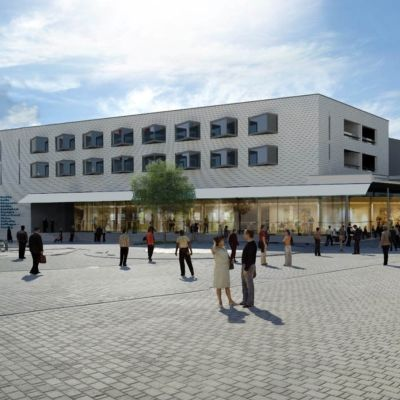 Skiss över hotell och citymarket på Västra åstranden i Borgå
