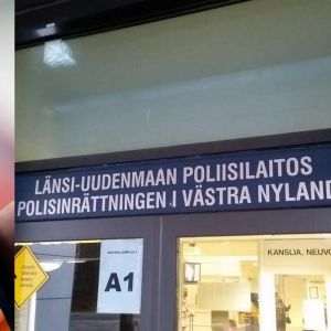 Smarttelefon och dörr till polisstation.