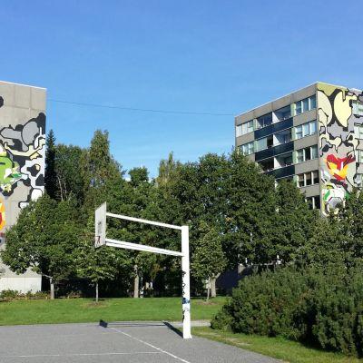 Seinämaalaukset kahdessa kerrostalossa