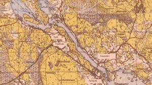 Kartta Äyräpään-Vuosalmen maastosta