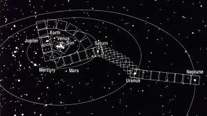 """Voyager 1-sondens """"familjeporträtt"""" av solsystemets planeter."""
