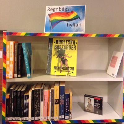 Arbis bibliotekets regnbågshylla