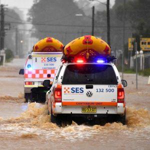 Räddningsfordon kör genom vattnet i Sydney.