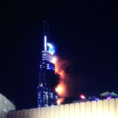 Brand i skyskrapehotellet The Address i Dubai på nyårsafton 2015.