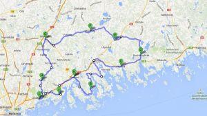 karta över tour de östnylands rutt