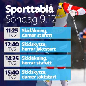 Sporttablå söndag 9.12