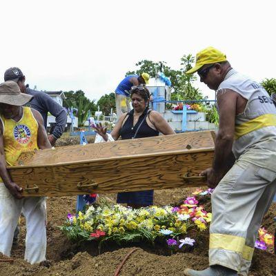 Omaiset hautaamassa Manausin vankilamellakan uhria.