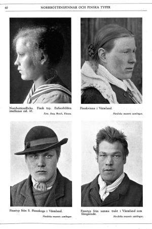 Suomalaisen rotutyypin edustajia. Herman Lundborgin kuva-arkistoista/ kuvitusta Tapio Tammisen kirjasta