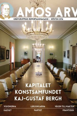 Omslaget till Amos Arv, en unik satsning på grävande journalistik i Svenskfinland av Grävrgruppen.