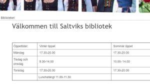 En skärmdump som visar öppettiderna för ett bibliotek inne i en tabell.