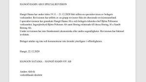 Ett pressmeddelande som konstaterar att en inga oegentligheter framkom vid en specialrevision vid Hangö hamn Ab hösten 2020.