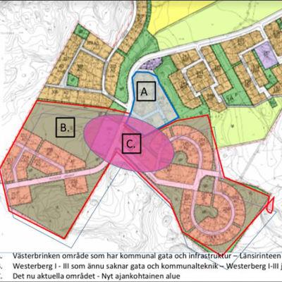 En karta över området Westerberg i Ingå.