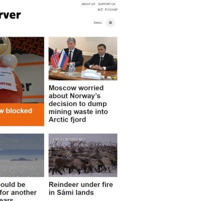 The Barents Observer -uutissivuston etusivu