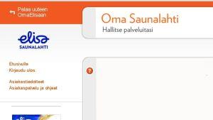 Ruutukaappaus Oma Saunalahti-verkkopalvelun etusivulta