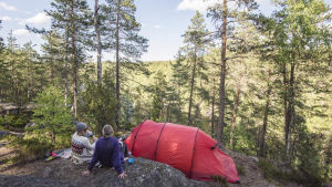 Kristiina Komulainen kallioisessa metsässä, vierellä teltta.