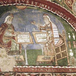 Antiikin lääkärit Galenos ja Hippokrates keskustelevat.