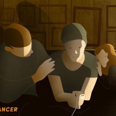 Grafisk bild av en man som tröstar en kvinna som drabbats av cancer.