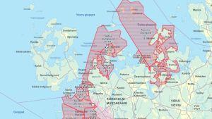 Karta över sikfredningsområdena.